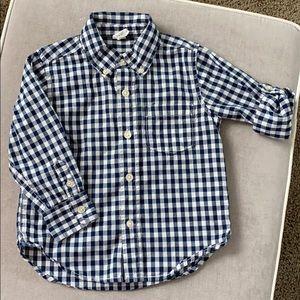 Baby Gap boy's navy checkered button down shirt